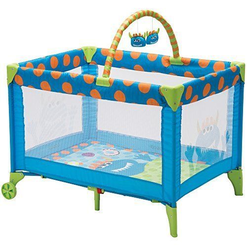 Baby Cute Play Yard Funsport Deluxe Monster Syd Portable Playpen Compact Travel #Cosco