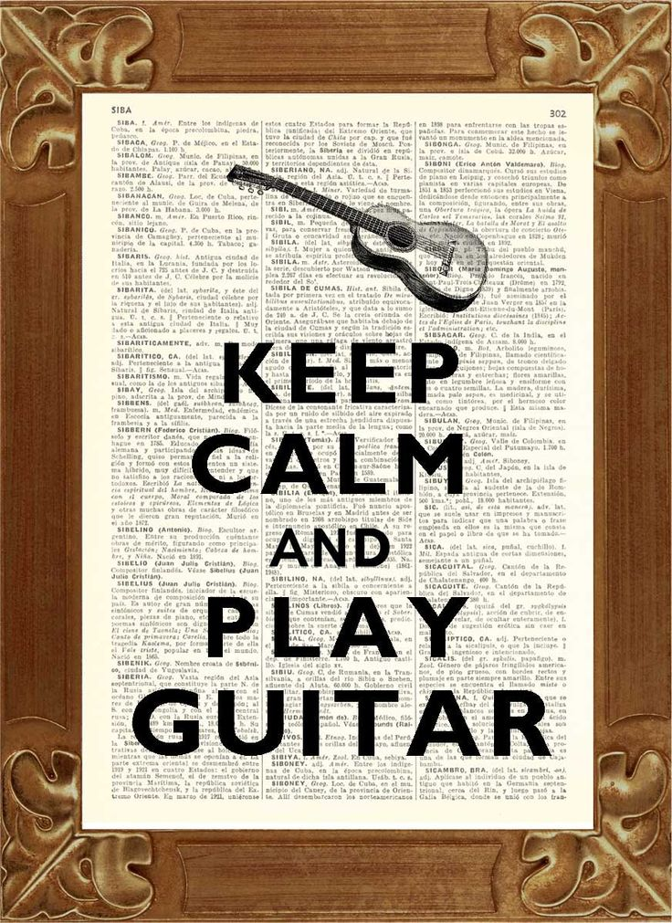 Keep calm play guitar Print, vintage illustration printed on old dictionary page Upcycled book Art