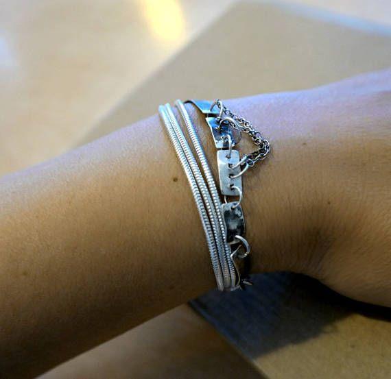 Sterling Silver Multi strand bracelet Modern Bracelet Raw