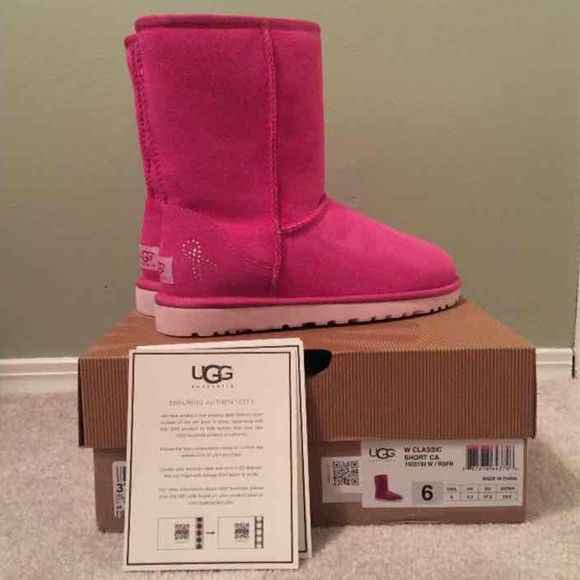 NEW UGG Classic Short Breast Cancer Edition 6 These BRAND NEW UGG boots are the special edition classic short style with a rhinestone breast cancer bow on the side. They have never been worn and ship in the original box. They are a WOMEN'S size 6. They are hot pink in color, with hot pink shearling on the inside. The soles are also light pink. Super cute and rare! PRICE IS FIRM AND NO TRADES  These are listed for much less on Merc! UGG Shoes
