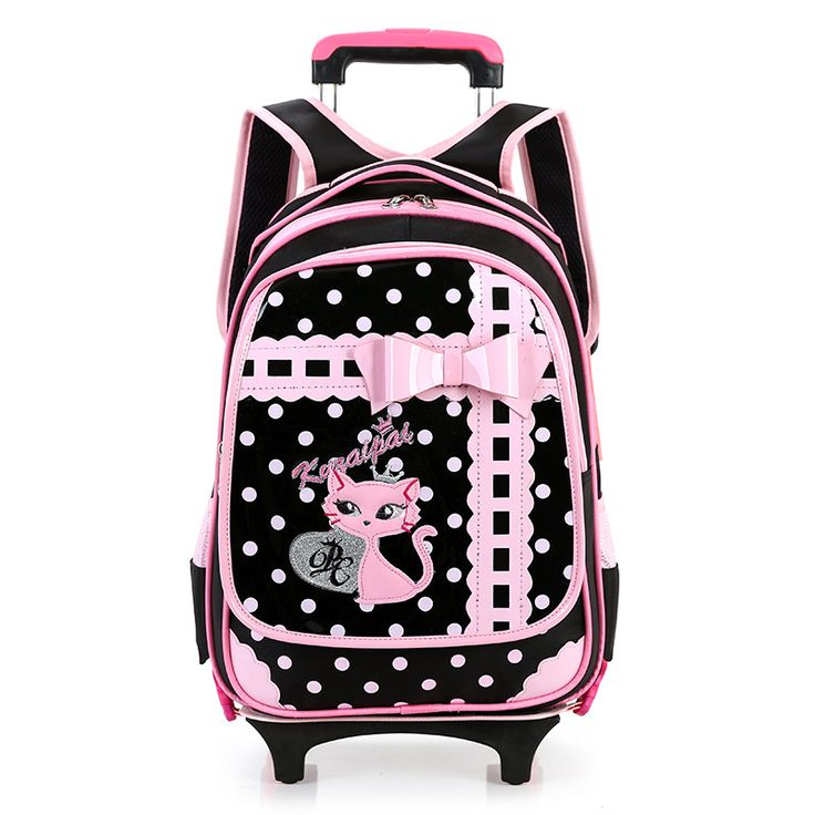 Cute Pink Color Girls School Bags With Wheels School Backpack & Detachable Trolley Bags Primary Student Girls Bag On Wheels