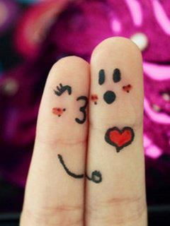 Loving Couple Concept - Faces Painted At Fingers Stock Photo ...