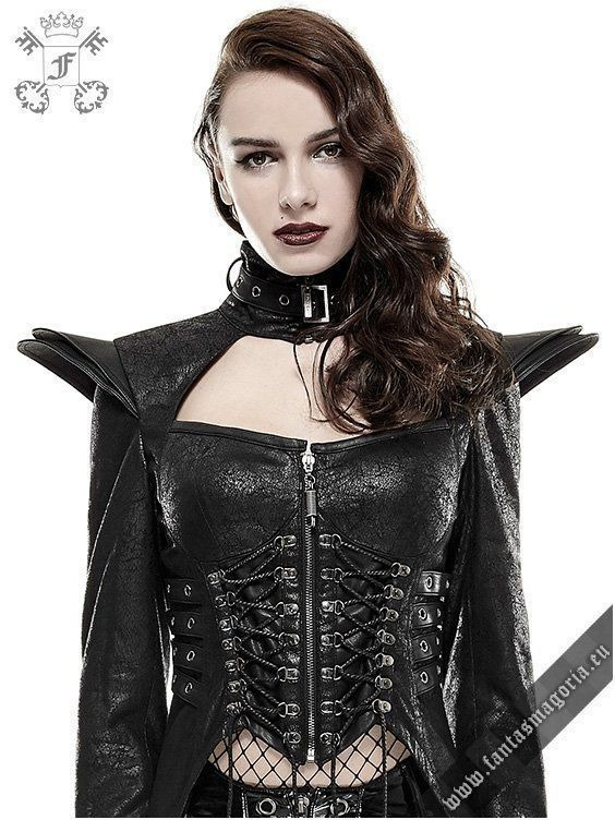y-670 Blitzkrieg coat punk rave. Gothic Punk Queen coat. Futuristic Gothic Fetish style women's jacket is made of soft fabric which imitates the crackled leather. | Gothic, Steampunk, Metal, Punk, Lolita, Fetish fashion style e-shop. Punk Rave, RQ-BL, Fantasmagoria clothing brands #womensGothicjacket