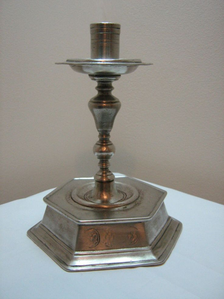 GT304 Pewter Candlestick approx. 19cm Tall, aged finish