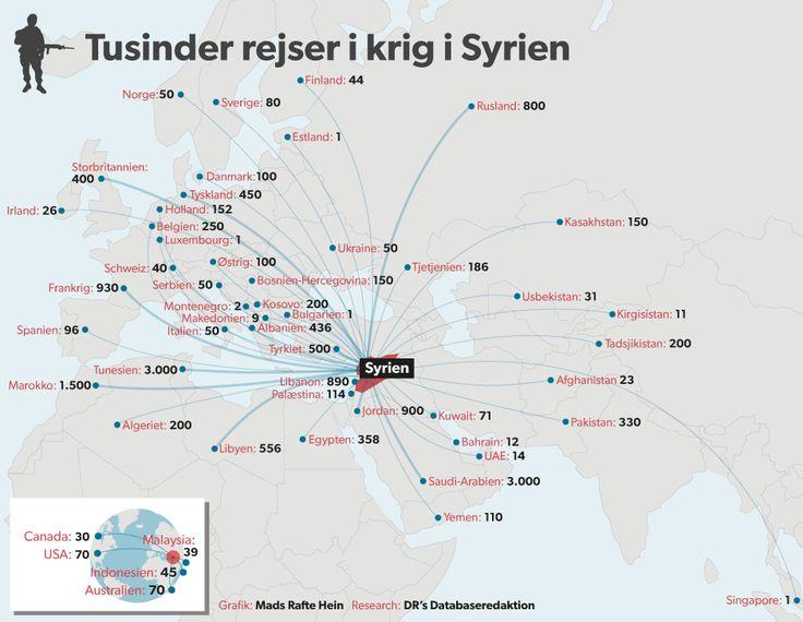SYRIEN. Verdenskort: Tusinder rejser i krig i Syrien | Nyheder | DR d. 20/11 2014