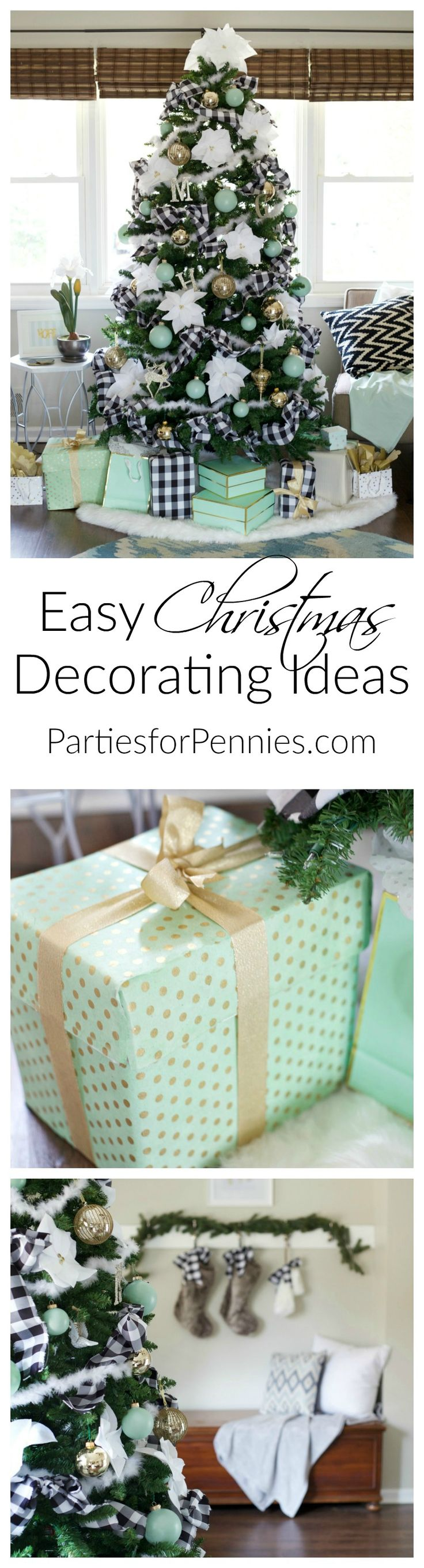 Easy Christmas Decorating Ideas By Partiesforpenniescom - Budget Friendly - Mint