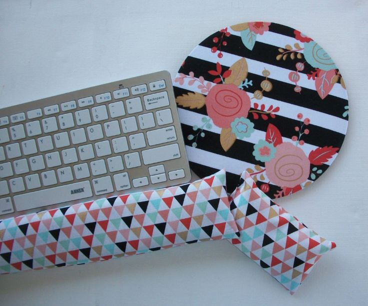 Mouse pad, keyboard rest, and mouse wrist rest set - black white stripe gold metillic flowers triangles- coworker desk cubical office accessories  chic / cute / preppy / computer, desk accessories / cubical, office, home decor / co-worker, student gift / patterned design / match with coasters, wrist rests / computers and peripherals / feminine touches for the office / desk decor