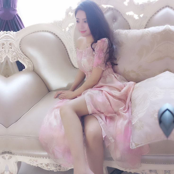 2017 Summer Short Sleeve Women's Chiffon Silk Dress Fashion Printed Princess Pink Long Dresses Beach Holiday Free Shipping