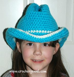 Free Crochet Pattern:  Cowboy or Cowgirl Hat (All sizes Available) Up To Teen Sizes. My Head Is Larger 24 in Maybe I Could Make With A Larger Hook!