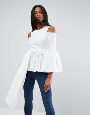 ASOS PREMIUM Cotton Top with Peplum and Sleeve Drama