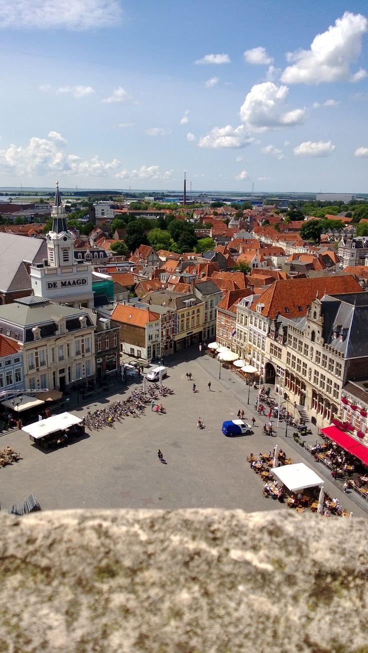 View from De Peperbus church tower, Bergen op Zoom, The Netherlands