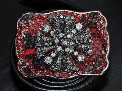 Red/black lizard with black crystal cross, red silver sea beads, black rocks Swarovski elements   Chrome Baby Miami Boutique