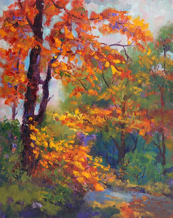 Amber Glow, Autumn Impressionist Landscape painting, 10x12""