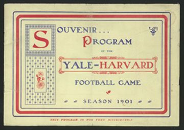 1901 Harvard vs. Yale Football Program. $507