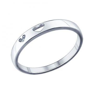 Помолвочное кольцо из серебра с фианитом #Sokolov #engagementring #weddingring