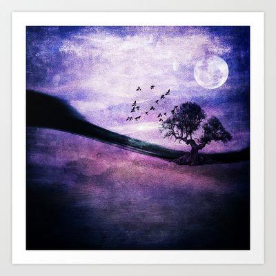 Landscape art print. Purple landscape by Viviana Gonzalez  #landscapeart #artprint $18.00