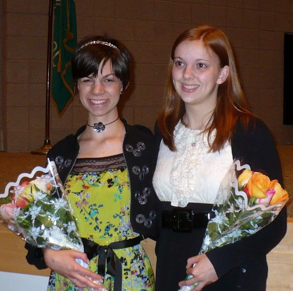 Recent Pennridge High School graduates Arianna Kendra, left, and Kendra Kramer receive the Heather Rogers Memorial Scholarship. The award was started by Rogers' parents after she was killed in a car crash in December 2001. The recipients are selected for the spirit and joy they exhibit in academics, extracurricular and community activities.