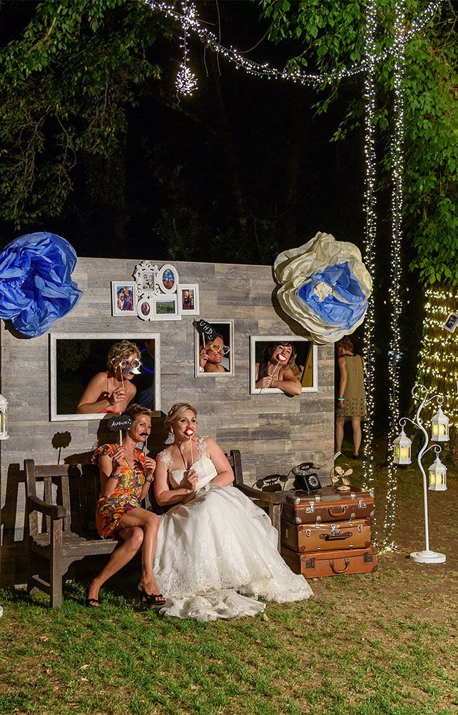 Photo booth matrimonio vintage blu tema viaggio