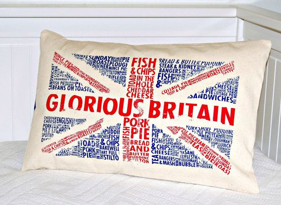 UK Union Jack  decorative pillow cover  12 x 18 by LittleJoobieBoo, £13.90