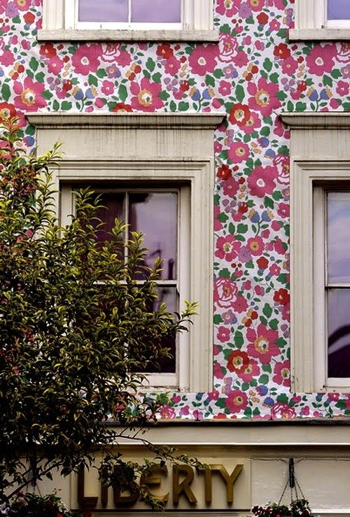 Liberty of london storefront - love the colorful print on the side of the building