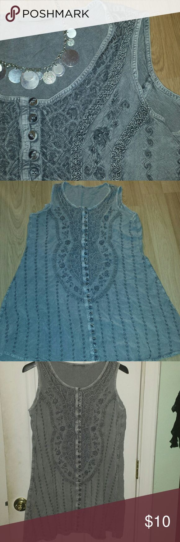 """Boho sundress The perfect dress for festivals, the beach, or any casual event. Embellished all over with tone-on-tone embroidery. No tags. One size fits S - XL, thanks to ties in back.  Armpit to armpit is 21"""" measured flat. Shoulder to bottom hem is 33 inches.  EUC. Dresses"""
