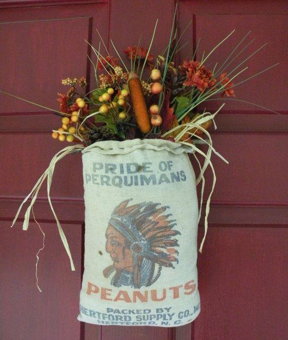 Primitive Fall decoration Vintage Peanut sack by Vintage4Ewe, my Etsy store...