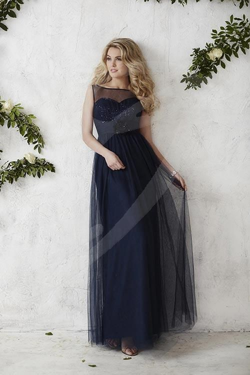 Balletts Bridal - 22392 - Bridesmaids by Jacquelin Bridals Canada - This illusion bodice is adorned with sequins  and a sweetheart neckline, remarkably elegant with a detachable flower and full tulle overlay skirt. Pictured in: Navy/Navy/Navy