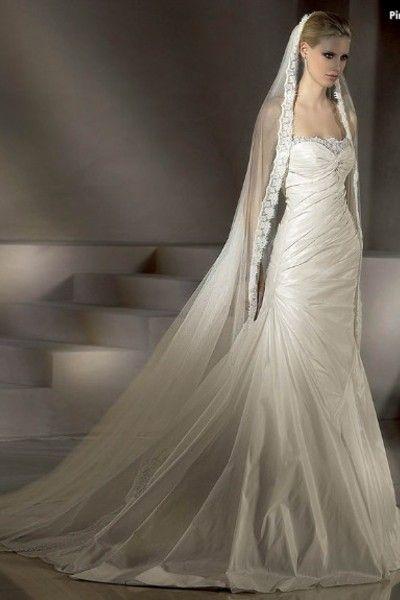 Vestido de noiva Sem Alças Cauda Pequeno Saia longa Tafetá