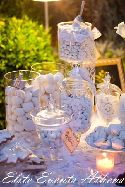 Candy jars at a Shabby Chic Vintage Wedding #shabbychic #vintagewedding