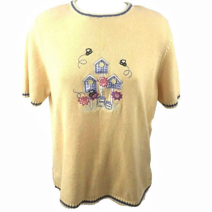 Appliqued Fabric Birdhouses. Embroidered Flowers, Bee's & Honeypots. C.J. Banks Yellow Sweater Size 1X. Back of sweater has same design minus the button embellishment. Cute Sweater, preowned in Excellent Condition. | eBay!