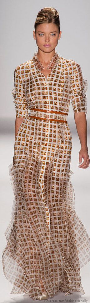 Carolina Herrera   S/S 2014 Love the contrast of the structure of the pattern vs. The softness of the fabric