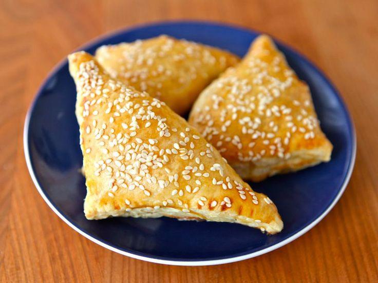 Recipe for Potato Cheese Bourekas with mashed potato and cheese filling, kashkaval & feta. Bureka, boreka, borek, savory hand pies. Kosher, dairy