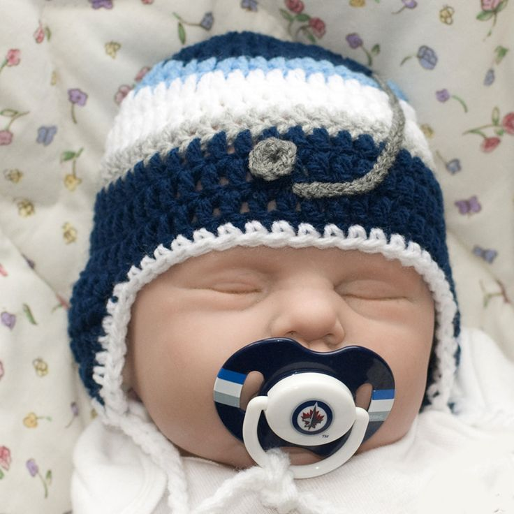 Baby Boy Hockey Hat & Winnipeg Jets NHL Logo Pacifier