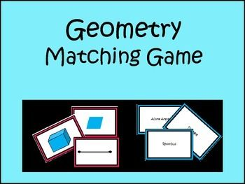 42 Cards:  20 Geometric Terms with matching Visual.2 Blank Cards Great for a Math Center.