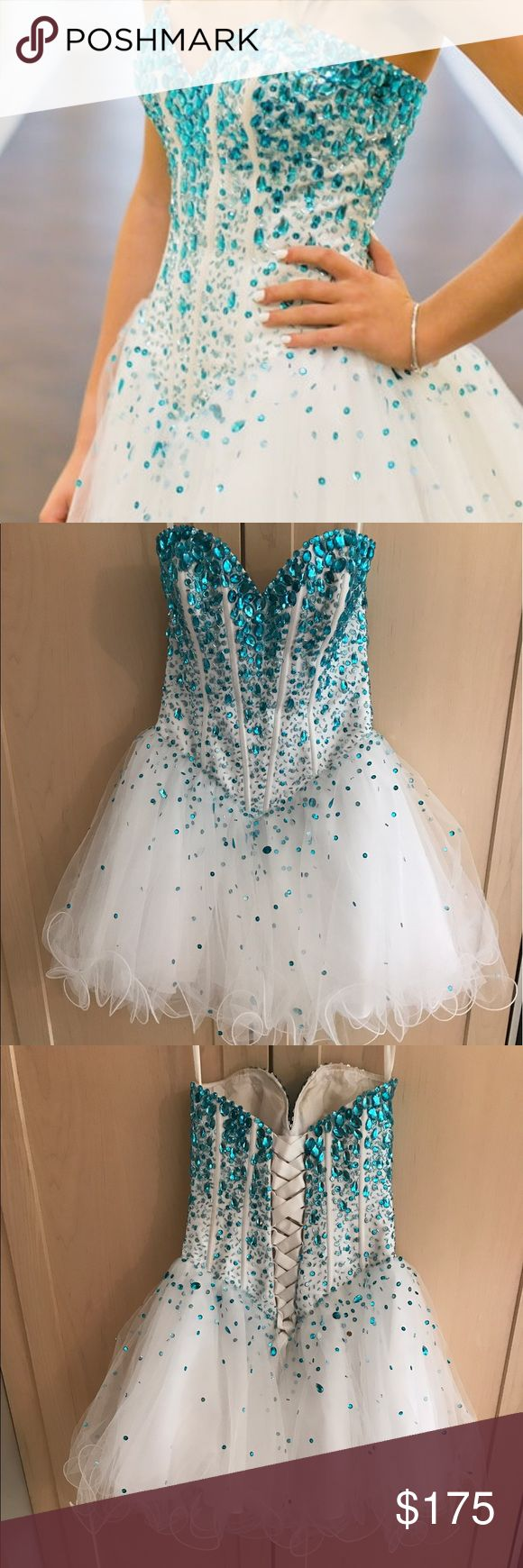 Aqua blue & white sequin dress Size 2, aqua and white sequin dress, worn once, pet free/smoke free home, corset back. Morilee Dresses Strapless