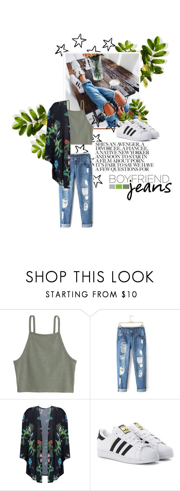 """boyfriend jeans"" by fernweeh on Polyvore featuring moda, Boohoo i adidas Originals"