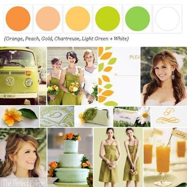 color scheme: orange, peach, gold, chartreuse, light green, and white.