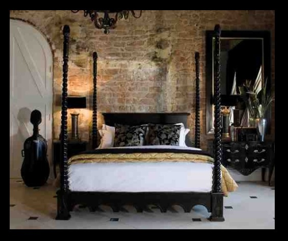 Four Poster Bed, Brick Walls, Large Door, Timeless Black
