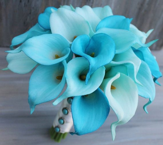 Turquoise Shades - From Pastels to Vibrant Hues: 15 Most Beautiful Calla Lily Wedding Bouquets - EverAfterGuide