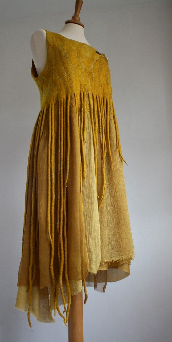 beautiful color & technique...Merino Silk Dress, naturally dyed OOAK by red2white on Etsy. via Ulla M. Holm