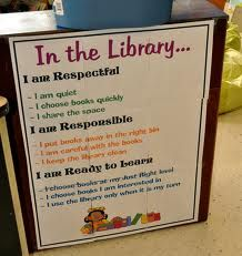 "Anchor Charts from Smiling in Second Grade blog. I made a version of this ""In the Library"" sign for my library."