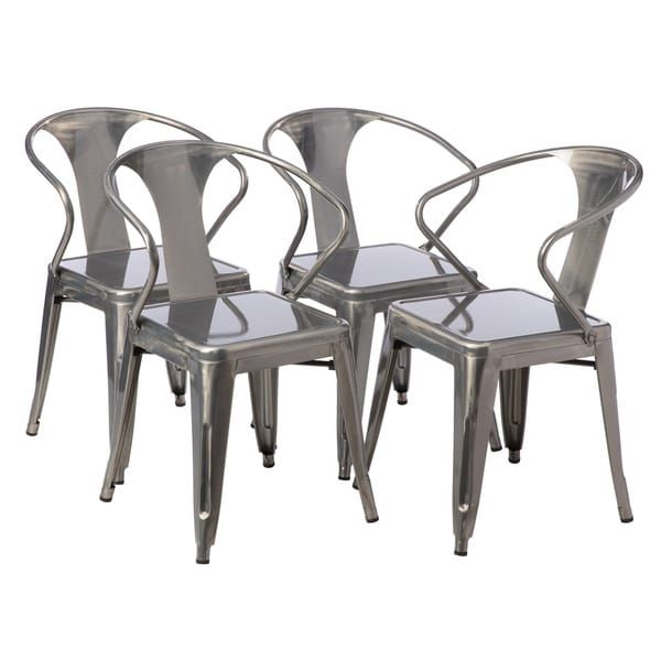 Carbon Loft Gunmetal Tabouret Stacking Chair (Set Of 4)