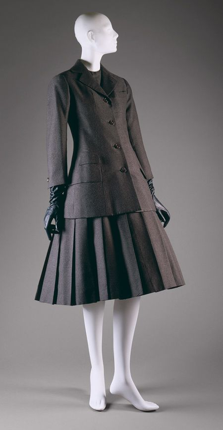 """""""A"""" ensemble, spring/summer 1955 Christian Dior (French, 1905–1957); Christian Dior Haute Couture (French, founded 1947) Wool, silk, straw"""