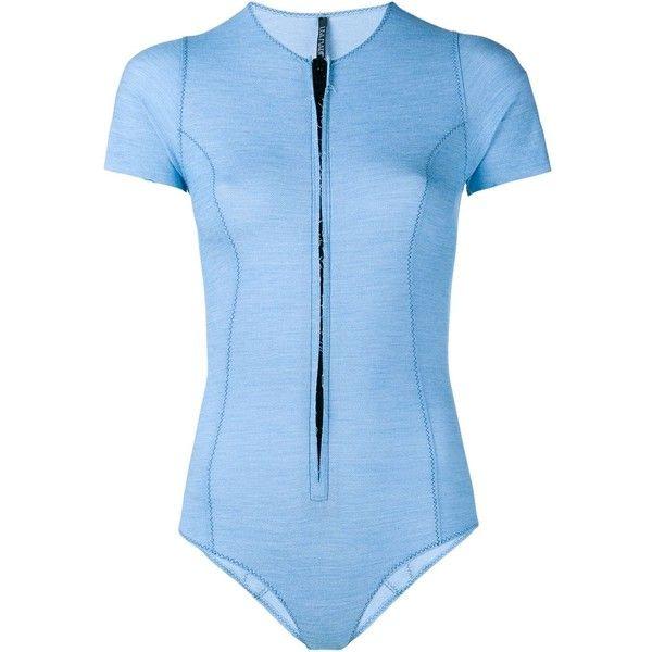 Lisa Marie Fernandez Farrah Bonded Denim Swimsuit ($404) ❤ liked on Polyvore featuring swimwear, one-piece swimsuits, blue, denim swimwear, swimming costume, blue swimwear, blue one piece swimsuit and swim costume