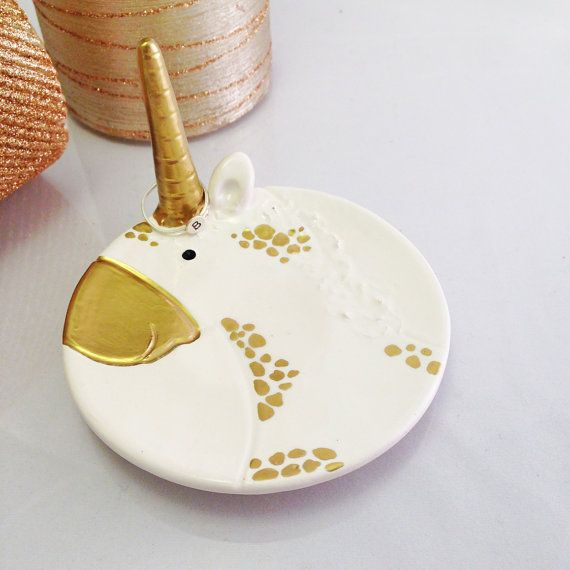 Gold Ceramic Unicorn Horn Ring Holder and Jewelry by 13Inspired