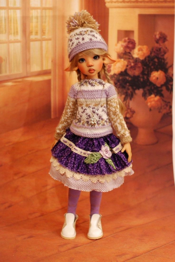 """Hand Knit Doll Outfit Set for BJD Doll 18"""" Kaye Wiggs 