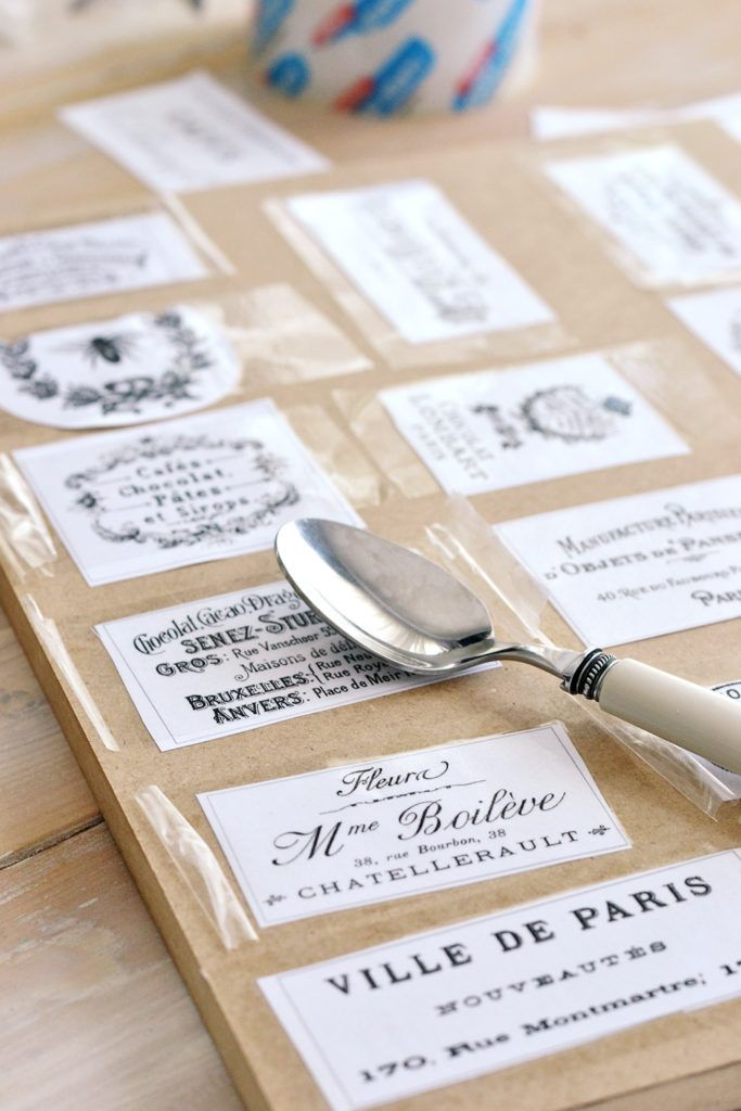 DIY Clear French Labels Project + free printable | packing