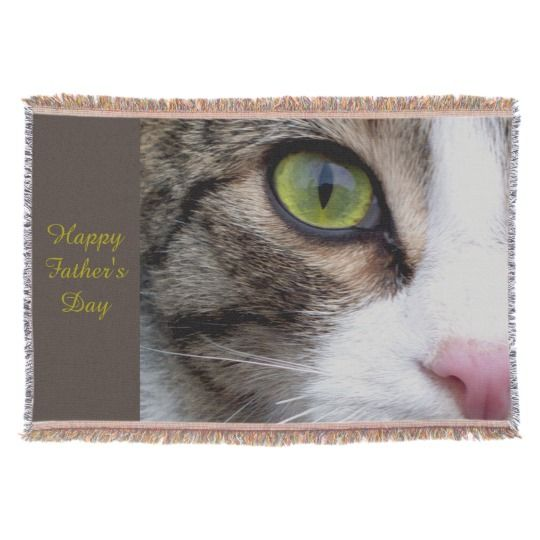 Wild Eyed Cat Throw Blanket - Happy Father's Day by www.zazzle.com/htgraphicdesigner* #zazzle #gift #giftidea #throw #blanket #cat #happy #fathersday