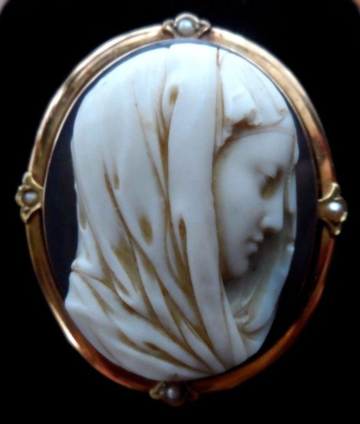 479 best cameo portraits images on pinterest cameo jewelry xx tra fine antique hardstone agate cameo brooch pendant of mary 14k gold pearls mozeypictures Image collections