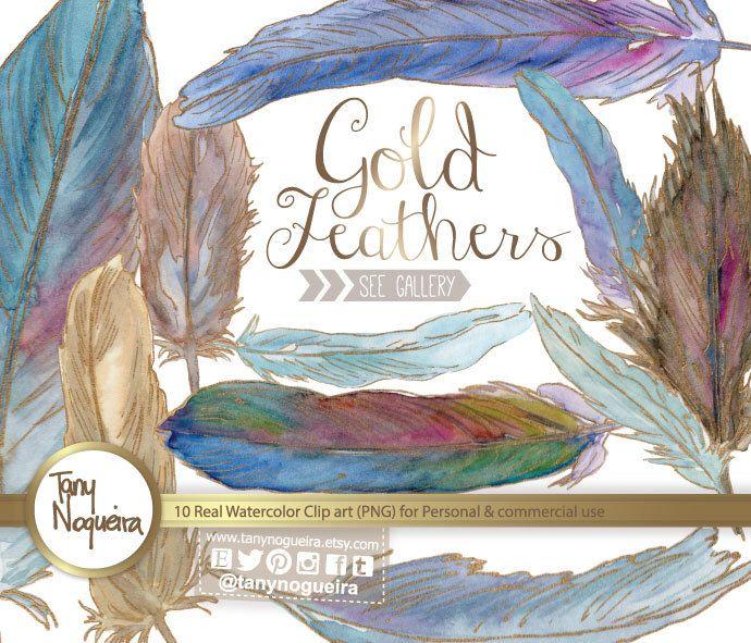 Handpainted feathers 🙋🏻💕🎨https://www.etsy.com/mx/listing/194900359/clip-art-plumas-de-aves-pajaros-con-oro #golddecor #bluefeathers #quotes #CARDS #birdsfeathers #etsyseller